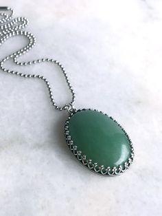 Big Oval Gemstone Necklace, Green Aventurine Jewelry, Silver Ball Chain Necklace