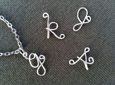 Custom Initial Letter Necklace Silver Wire by JoRasDesigns on Etsy, $13.00
