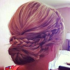 Updo-bridesmaid hair with braid Fancy Hairstyles, Wedding Hairstyles, Wedding Updo, Prom Updo, Hairstyle Ideas, Gorgeous Hairstyles, Style Hairstyle, Casual Wedding, African Hairstyles
