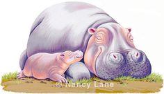 Hippo and hippo baby print by nancylanestudio on Etsy