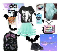 """""""Summer Pastel Goth"""" by emobandgeekforlife ❤ liked on Polyvore featuring Hot Topic, Kreepsville 666, GAS Jeans, Hollywood Mirror and pastelgoth"""