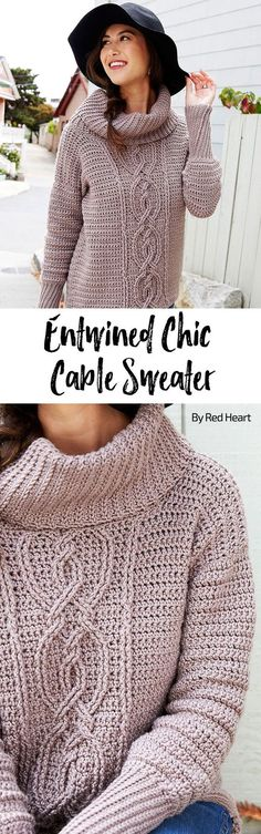 Entwined Chic Cable Sweater free crochet pattern in Chic Sheep Merino Wool yarn.