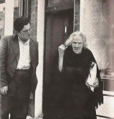 Via Rare Irish Stuff:  Brendan Behan & Peig Sayers c.1955 — with Michael Murphy.
