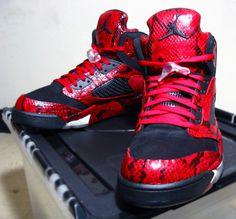 """Jordan V """"Red Spitting Cobra"""" Customs"""