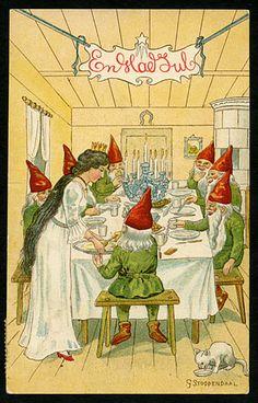 Julkort av signaturen Stoopendaal. Snövit och de 7 små dvärgarna!? (Stämplat år 1910).