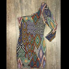 Multicolor Diamond Open Back One Shoulder Dress