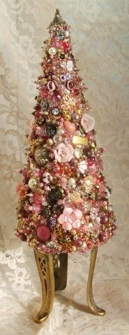 Pink - Jeweled Tree  Beautiful, will have to check my beading boxes and buttons for this one!