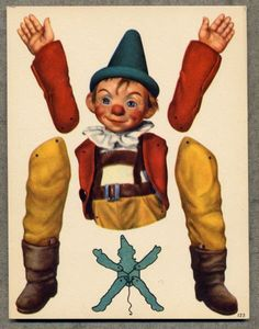 Articulated Pinocchio - Antique paper dolls and paper toys to make - Joyce hamillrawcliffe - Picasa Web Albums Paper Puppets, Paper Toys, Vintage Paper Dolls, Vintage Toys, Paper Dolls Printable, Antique Toys, Altered Art, Art Dolls, Illustration