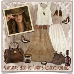 ~Gypsy Caravan~ by justwanderingon on Polyvore featuring Rochas, Office, David Jones, Zad, Lucky Brand, Angel Ranch and Clinique