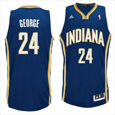 Mens Indiana Pacers Paul George 24 Blue Authentic NBA Basketball Jersey on eBid United States