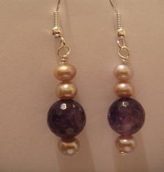 fresh water cultured pink pearl and faceted amethyst earrings for pierced ears £4.95