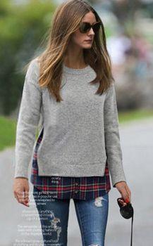 Heather Grey Side Slit Red Plaid Sweater|Goodnight Macaroon