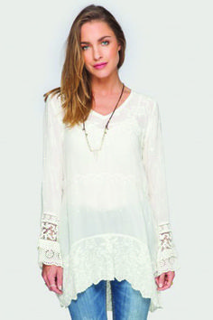Johnny Was Amilia V-Neck Tunic. Shop for this and many more items at Emma Laura in Dublin GA in Ivy Place shopping center. You can also purchase by phone at 478-272-2095 or shop our website at www.emmalaura.com.