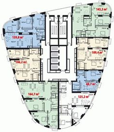"""LCD """"Tricolor"""" - Different and beautiful ideas Building Layout, Building Plans, Building Design, Architecture Graphics, Architecture Plan, Residential Architecture, Apartment Layout, Apartment Plans, Hotel Floor Plan"""