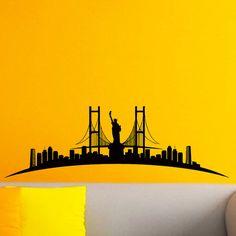 New York Skyline City Silhouette Wall Vinyl Decal Sticker Home Decor Art Mural Z527