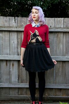 dear mr rabbit: outfit: red, black & blue