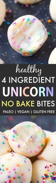 Healthy No Bake Unicorn Bites (V, GF, DF, P)- 4-Ingredient no bake bites inspired by the unicorn frappuccino- Ready in 5 minutes! {vegan, gluten free, paleo recipe}- thebigmansworld.com