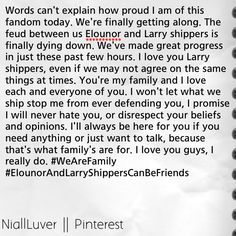 I love you guys❤️ xx #WeAreFamily #ElounorAndLarryShippersCanBeFriends