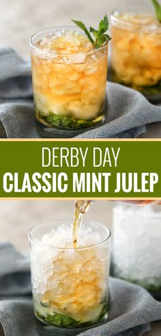 This Southern mint julep recipe is extremely close to the iconic Derby Day cocktail made with simple syrup Kentucky bourbon fresh mint and crushed ice. Cool and refreshing it's perfect on a summer day! Summer Drinks, Fun Drinks, Healthy Drinks, Alcoholic Drinks With Mint, Beverages, Mixed Drinks, Easy Cocktails, Cocktail Recipes, Cocktail Drinks