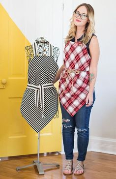 Easy Square Aprons (No Sew Option!) | A Beautiful Mess | Bloglovin'