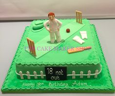 Cricket Cake More Cricket Birthday Cake, Cricket Cake, Cute Birthday Cakes, 9th Birthday, Birthday Decorations, Birthday Parties, Brush Embroidery, Maker Shop, Cake Makers