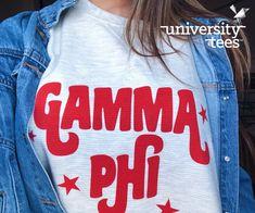 Gamma Phi red starred tee I made by University Tees I apparel designs | custom greek apparel I sorority shirt designs I greek t-shirts I pr apparel I long sleeve sorority tees