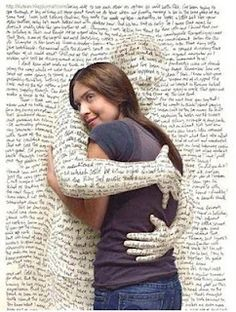 hug literature-  This picture is kinda creepy, but I do love a good book.