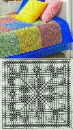 Crochet afghans 489414684489626009 - SFR Mail Source by hlneperfettini Filet Crochet Charts, Crochet Motifs, Crochet Blocks, Crochet Diagram, Crochet Stitches Patterns, Crochet Squares, Thread Crochet, Crochet Crafts, Crochet Doilies