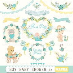 "Baby shower clipart: ""Boy Baby Shower clipart"" with blue flower clipart, baby clipart, teddy bear clipart, 24 images,300 dpi. PNG, EPS files"
