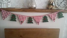 5 red and white linen check bunting flags with 4 felt christmas trees all with hand sewn buttons, measures approx in length, handmade and made to order Christmas Bunting, Christmas Sewing, Felt Christmas, Christmas 2016, Christmas And New Year, Handmade Christmas, Christmas Stockings, Christmas Crafts, Christmas Decorations