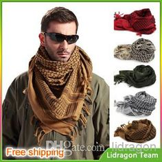 Wholesale Military Scarf - Buy Factory Sales New Military Windproof Muslim Hijab Shemagh Tactical Desert Arabic Keffiyeh Scarf 100% Cotton W...
