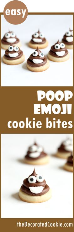 How to decorate easy POOP EMOJI cookies! These bite-size cookies are simple to decorate, even for beginners, and are a great addition to an emoji party. Bite Size Cookies, Mini Cookies, Holiday Cookies, Cake Cookies, Sugar Cookies, Cupcake Cakes, Mini Cupcakes, Cookie Recipes, Dessert Recipes