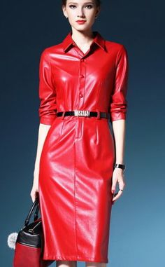 Leather dresses Seitenbearbeitung Don't Let Your Roof Repairs Go Sky High! Red Leather Dress, Black Leather Pencil Skirt, Leather Dresses, Red Fashion, Leather Fashion, Fashion Dresses, Womens Fashion, Red Dress Day, Leder Outfits