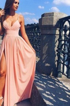 2020 Prom Dresses Spaghetti Straps V-Neck Chiffon With P6R29P4E, This dress could be custom made, there are no extra cost to do custom size and color Split Prom Dresses, A Line Prom Dresses, Wedding Bridesmaid Dresses, Strapless Dress Formal, Formal Dresses, Spaghetti Strap Dresses, Spaghetti Straps, Sweetheart Prom Dress, Prom Looks