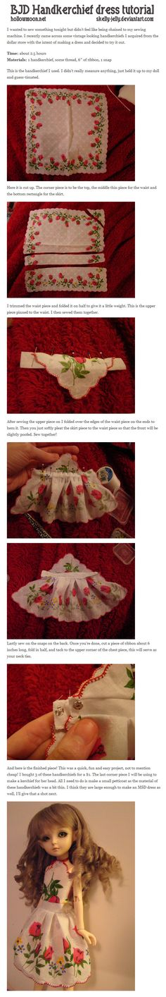 BJD Handkerchief dress tutorial by skelly-jelly on deviantART