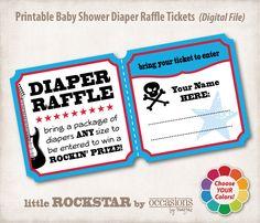 Baby Shower Diaper Raffle Tickets, Digital File, little Rockstar. $6.00, via Etsy.