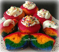 How to make rainbow cupcakes.