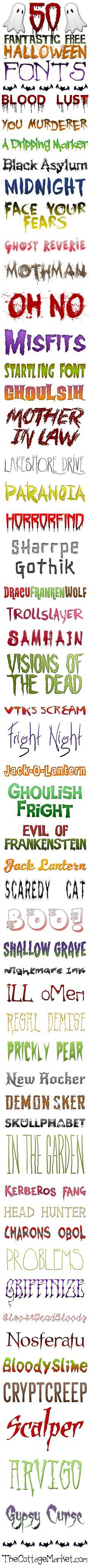 FREE Halloween Fonts - so many great ones to use in your own ...