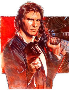 Han Solo - Legend of the Outer Rim, in Mark Raats's Star Wars Comic Art Gallery Room Star Wars Love, Star Wars Fan Art, Star Trek, Han Solo And Chewbacca, Star Wars Han Solo, Star Wars Tattoo, Gouache, Starwars, Princesa Leia