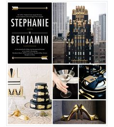 This Art Deco Wedding Inspiration Board from Borrowed and Bleu focuses on luxe wedding details, like shiny gold shoes and a unique black and gold cake.