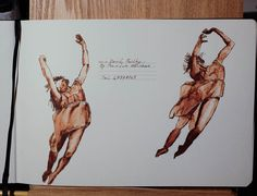 "I have just purchased a ""Monsieur"" Ink and Watercolour sketchbook and I'm hoping to develop my Pen & Ink drawing skills in 2016. Started off by decorating the 1st page with a couple of dancers"
