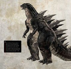"""""""This is Christian Pearce's work at Weta,"""" said Edwards. """"He's a massive Godzilla fan and lobbied hard for what I jokingly called 'Christmas tree fins.' But a more angular, broken slate look made more sense, as if the fins growing out of him are brittle and break."""""""