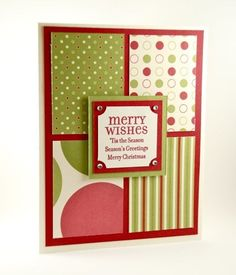 Merry Wishes And More On This Handmade Christmas Card Red And Green | cardsbylibe - Cards on ArtFire