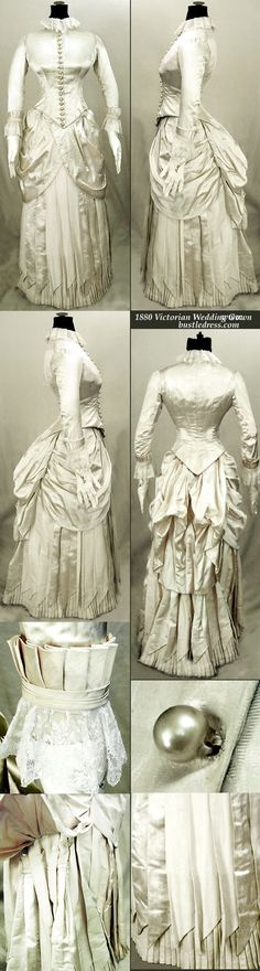 1880 Victorian Wedding gown of Silk with French lace