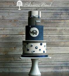 Elephant Baby Shower Cake by Shannon Bond Cake Design www.sbcakedesign.com