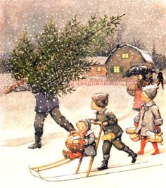painting by Elsa Beskow JUL — Christmas Christmas is the biggest and longest holiday of the year. Scandinavian Christmas Trees, Swedish Christmas, Merry Little Christmas, Christmas Past, Vintage Christmas Cards, Vintage Holiday, Christmas Pictures, Vintage Cards, Winter Christmas