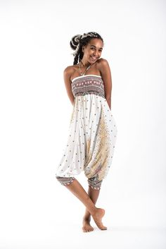 f0b5fcc552a Peacock Feather Jumpsuit Harem Pants in White