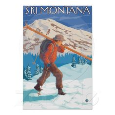 Skier Carrying Snow Skis - Montana Poster from Zazzle.com