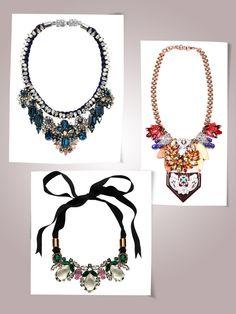 Shourouk Gilda necklace, $818charmandchain.com    Lulu Frost for J.Crew Tangerine Resin petal necklace, $278jcrew.com    Mawi teardrop crystal ribbon necklace, $787For information: mawi.co.uk