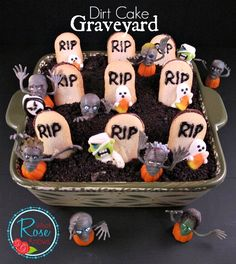 Halloween Party Idea - Dirt Cake Graveyard! (via whatroseknows.com) #boo #trickortreat